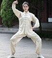 Plus Size XXXL Beige Chinese Style Female Tai Chi Suit Women's Satin Kung Fu Uniform Long Sleeve Wu Shu Clothing 2526-2