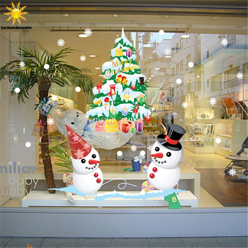 The New Shop Window Snowman Christmas Tree Christmas Wall Sticker ...