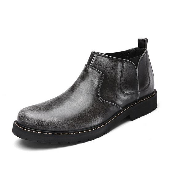 New Arrival Spring Autumn Uomo Ankle Leather Boots Genuine Leather Ankle Vintage Male Shoes Fas d14fba