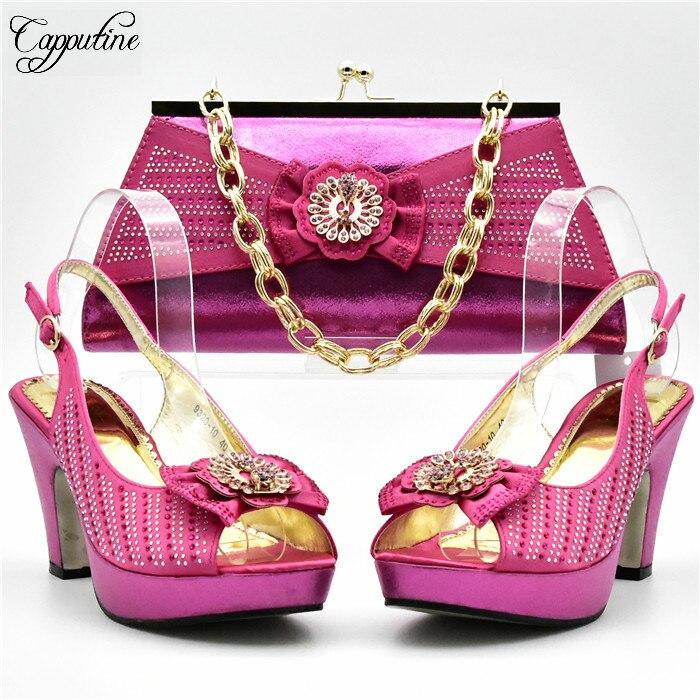 Удивительные фуксия свадьбы высокий каблук туфли-лодочки и сумочка со стразами для леди XY01 разных цветов для продажи