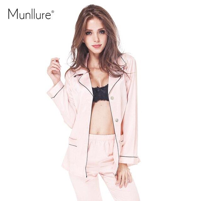 Autumn sexy underwear sexy faux silk comfortable stand collar long-sleeve sleepwear lounge twinset