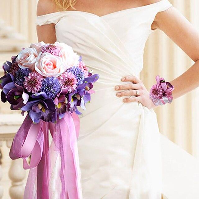 2016 Beach Style Purple Pink Rose Wedding Bouquet Ramo de dama de Honor Baratos De Noiva Artificia Boda Nupcial Que Sostiene Las Flores
