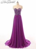 הסגול אלגנטי החדש לנשף שמלות חרוזים מתוק ארוך שיפון מפלגה לנשף שמלה זול שמלת ערב vestido דה festa