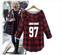 kpop new Bangtan Boys loose women hoodies autumn new Plaid Outerwear Long Sleeve Sweatshirts Women's Loose korean Hooded clothes