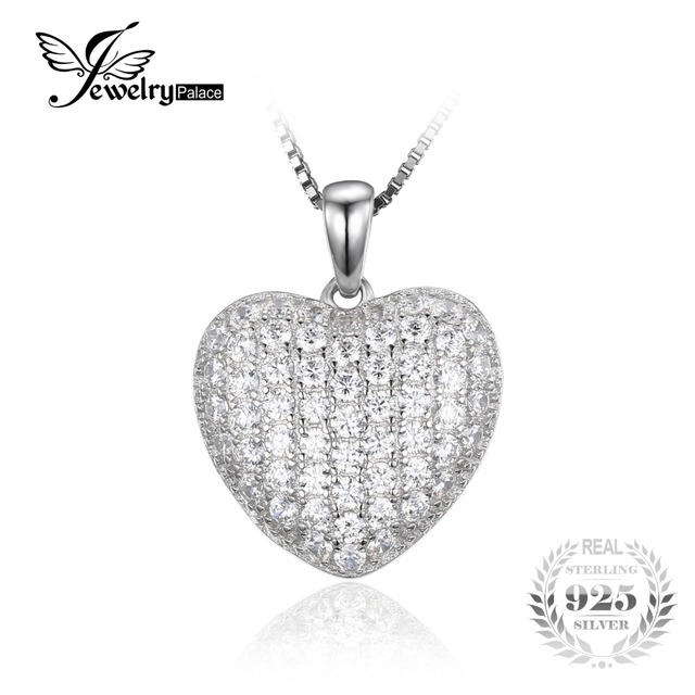 JewelryPalace Heart Love 1.5ct Round Cubic Zirconia Pendant Real 925 Sterling Silver Jewelry Wedding Gift Not Include A Chain