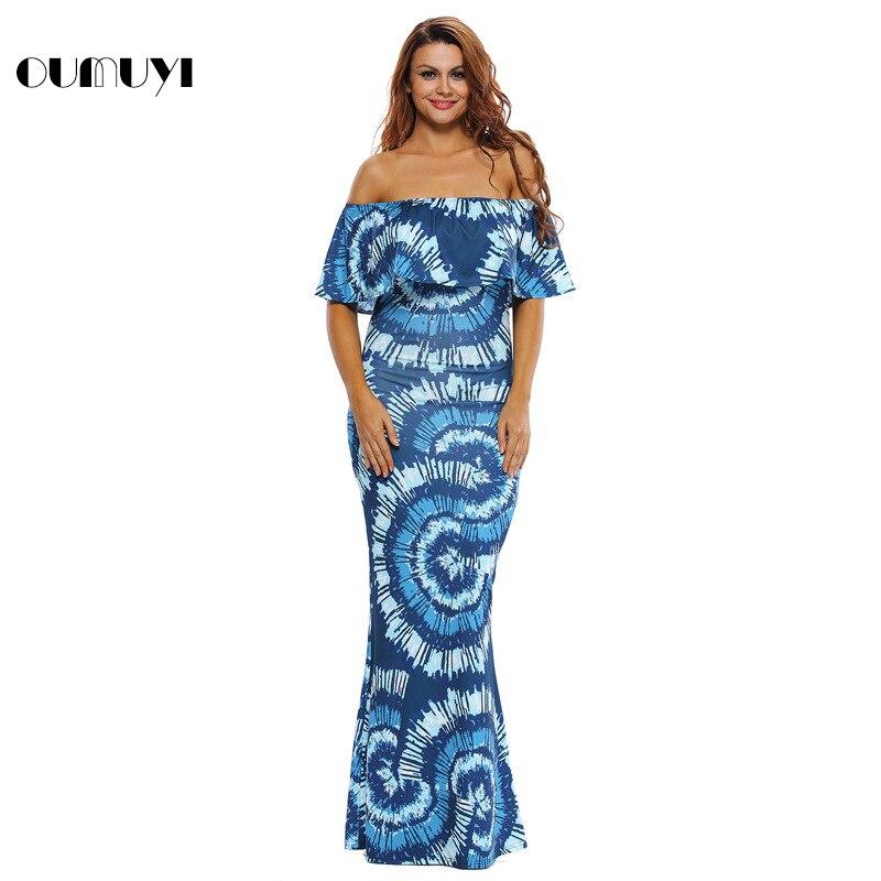 d4eeb2823e OUMUYI Off the hombro Vestidos Maxi Verano 2017 Fiesta Azul Marino Roses  Imprimir Vestidos Vestido Festa Largo túnicas en Vestidos de La ropa de las  mujeres ...