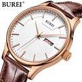 BUREI Famoso reloj de la Marca de Moda Casual hombres de Cuarzo Relojes de pulsera de reloj horas relogio masculino masculino reloj Deportivo de cuero de negocios