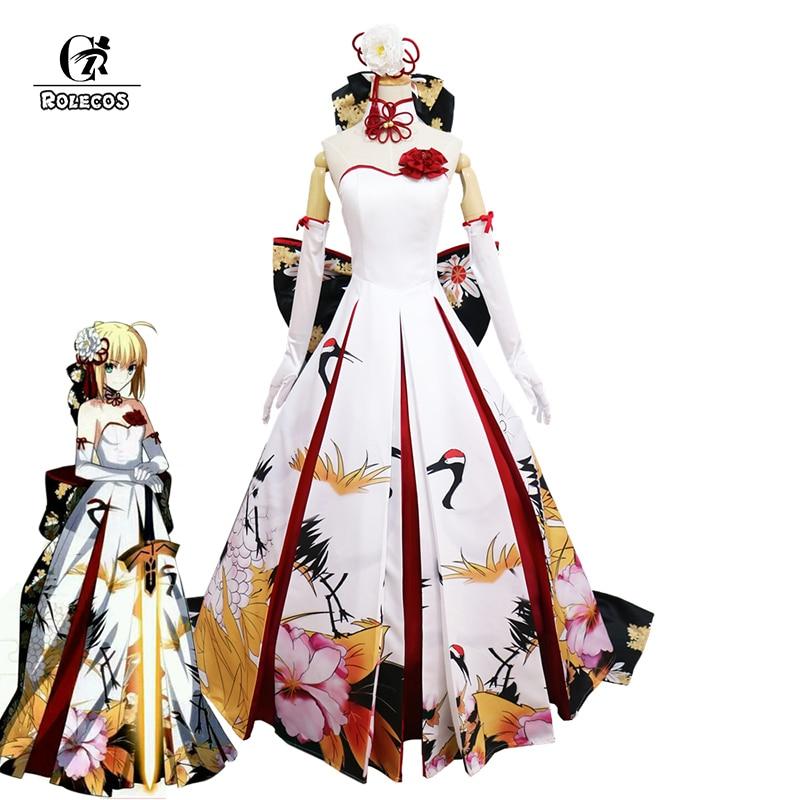 ROLECOS Fate Stay Night Altria Pendragon Cosplay Costume Saber Arturia Pendragon Cosplay Costume Crane Wedding Dress