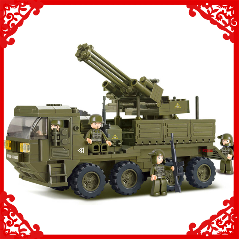 SLUBAN 0302 306Pcs Heavy Transport Truck Army Model Building Block Construction Figure Toys Gift For Children Compatible Legoe 0587 sluban army series 8 in 1 military tank truck model building blocks enlighten diy figure toys for children compatible legoe