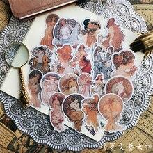 19PCS vintage stickers Mu Xia literary goddess characters series DIY scrapbooking album journal happy plan decorative stickers