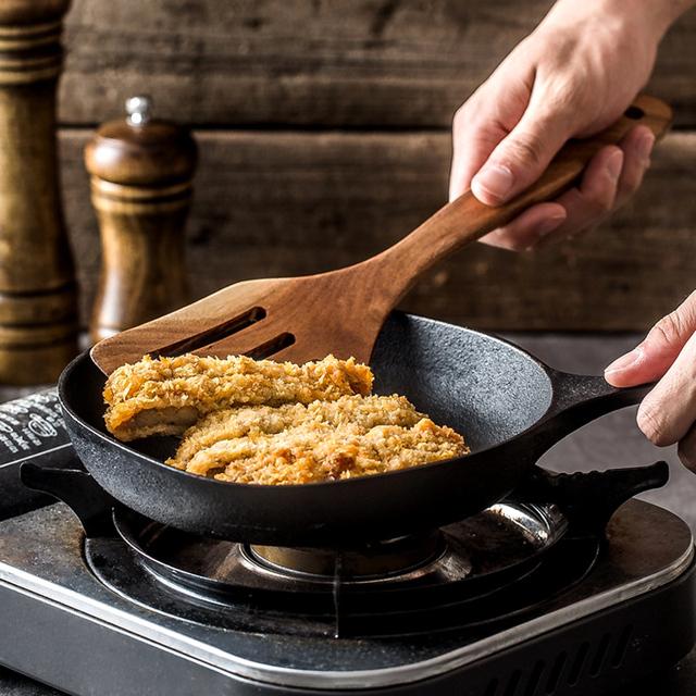 Teak Wood Turner Long Handle Spatula Kitchen Turner Non Stick Cooking Utensils Wooden Spatula Slotted Turner Set Wooden Utensils
