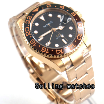 40mm PARNIS black dial Sapphire glass golden case date GMT automatic mens watch