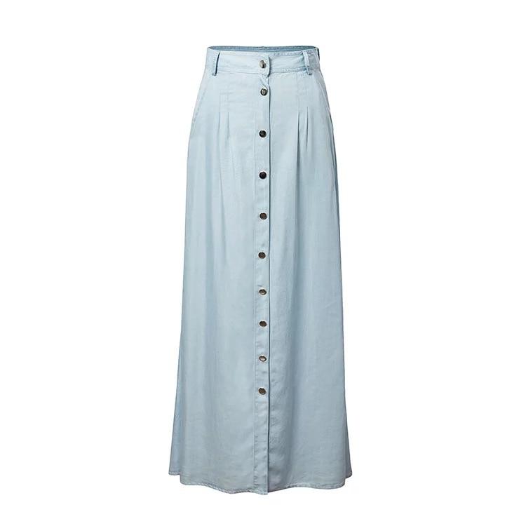 2017 New Fashion Women Long Skirt Denim Skirt Light Blue Color A Line Ankle Length High Waist Casual Buttons Skirt