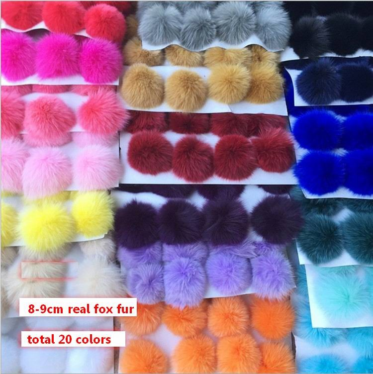 5pcs/lot 8cm Natural Real Fox Fur Ball Pom Pom Fluffy Genuine Fur Pompom DIY Winter Hat Skullies Beanies Knitted Cap Pompoms f86
