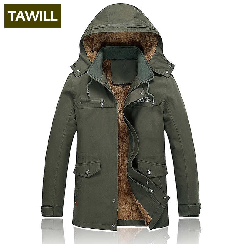 TAWILL Fleece Warm Winter Men Jacket Jean Military Army Cotton Male 2018 New Brand clothing Mens Jackets 1312 ...