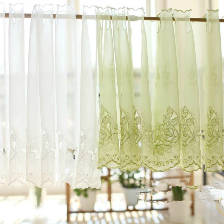 Online White Rose Semi Shade Shalian Coffee Curtain Solid Color Embroidered Short Kitchen Cabinet Aliexpress