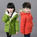 2-7T Girls Boys Coats And Jackets 2016 Korean Autumn Winter Kids Usa Flag Hooded Coat Thick Cotton Warmer Children Winter Coat