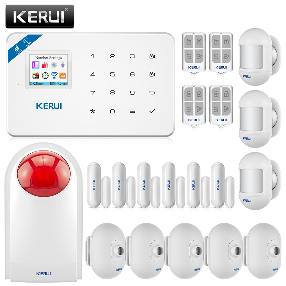 Kerui W18 1.7-inch Tft Color Screen 433mhz Wireless Wifi Gsm Alarm System Home Security Alarm System Reliable Performance Security Alarm