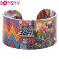 Bonsny Acrylic Cute Colorful Pattern Bangle News 2017 Fashion Jewelry Women Girl Spring SUmmer Accessories Bracelets AB155