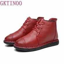 Vintage Style Genuine Leather Women Boots Flat Booties Women's Shoes winter warm plush Ankle Boots