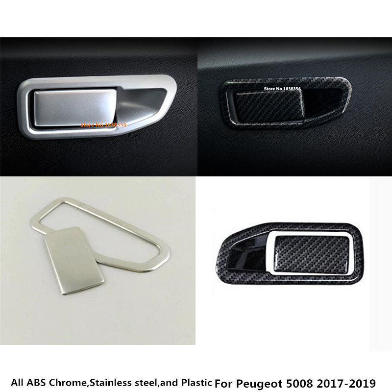 Buy For Peugeot 5008 2017 2018 2019 car styling carbon fibre/stainles steel co-pilot Glove box front trim lamp panel frame hood 2pcs for only 16.12 USD