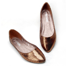 Fire cracks comfortable flat single shoes plain pointed toe flat heel dipper shoes soft outsole boat