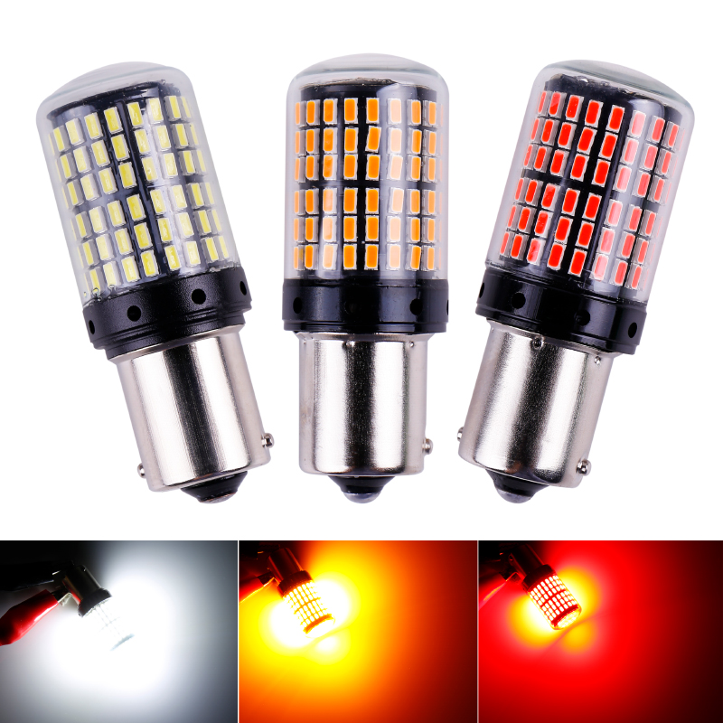 1x 3014 144smd CanBus S25 1156 BA15S P21W LED BAY15D BAU15S PY21W lamp T20 LED 7440 W21W W21/5W led Bulbs For Turn Signal Light image