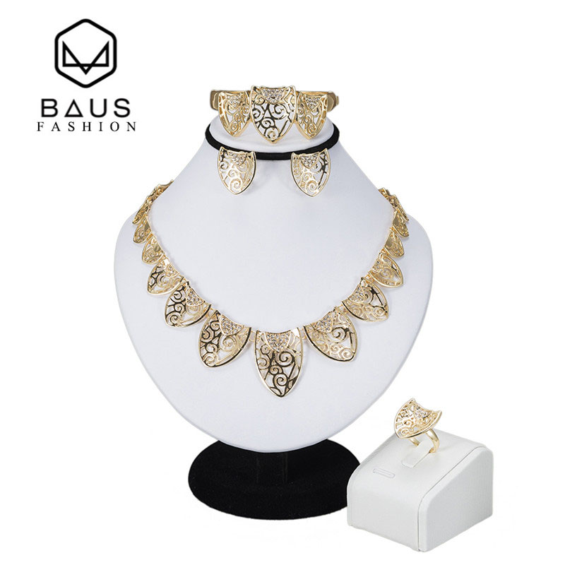 Baus 2017 mode afrika beads afrika nigeria indian dubai perhiasan set wanita afrika beads jewelry set perhiasan emas arab