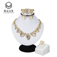 Bule Pearl Dubai Indian Gold Jewelry Set Ethiopian Silver Plated Nigerian Wedding African Jewelry Set Flower