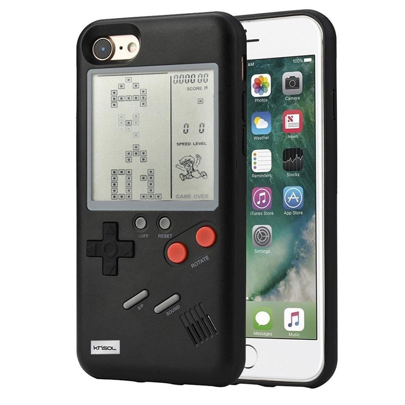 Khisol Game Console Phone Cover Case For Iphone X 7 8 6 6S Plus Multi Game Phone Case Tetris Game TPU Back Cover For Iphone X