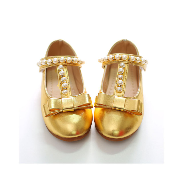 MSMAX Children Girls Dress Shoes Stage Gold Performance Butterfly-Knot  Bling Bead Party Shoes Kids Single Wedding Shoes bf3bdcd54096