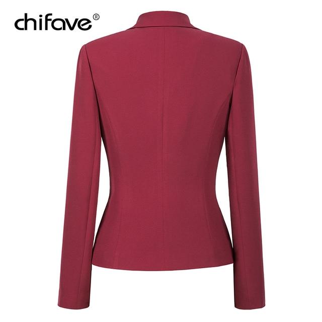 chifave Blazer feminino 2018 Autumn Winter Elegant Women's Short Jacket Plus Sizes Office Style Slim Wine&Black Blazer Jackets 2