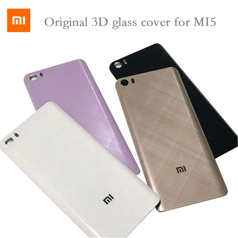 Original 3D glass with logo Back Cover For Xiaomi Mi5 5.15 inch Housing panel Battery Door For Xiaomi Mi 5 Battery Back Cover(China)