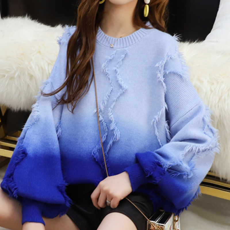 LANMREM 2020 Autumn And Winter New Fashion Sweet Women Loose Casual Gradient Tassel Pullover Sweater TC302