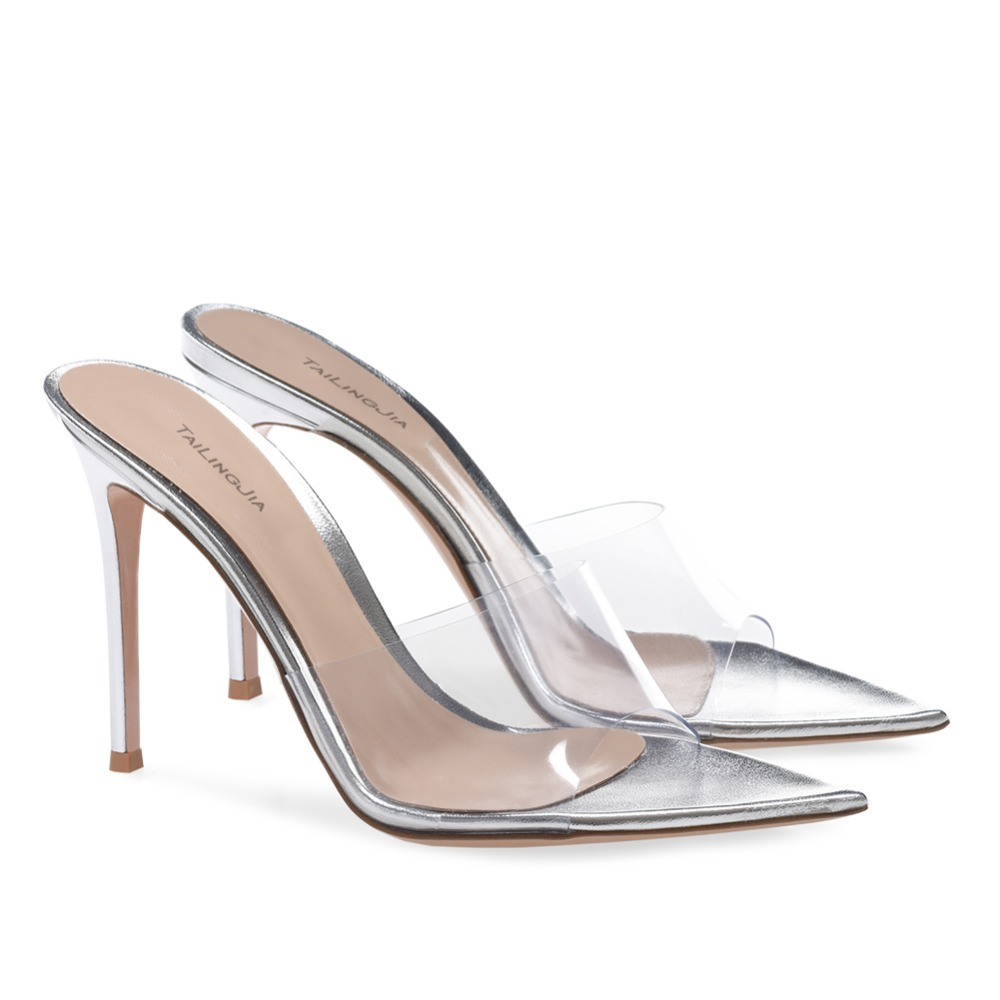 Stylish Open Pointed Toe High Heel Mules Women Heeled Clear Sandals Ladies Summer Transparent Shoes Party Evening Dress Heels in High Heels from Shoes