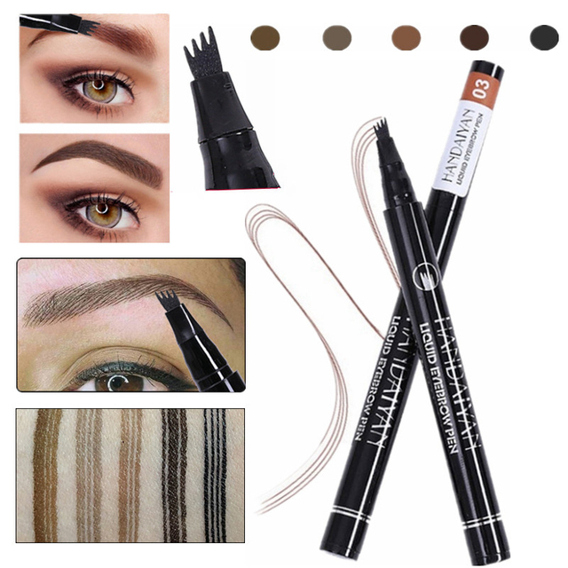 5 Color Microblading Eyebrow Pencil Waterproof Fork Tip Tattoo Pen Tinted Fine Sketch Eye Brow Pencils Long Lasting Eyebrows 1