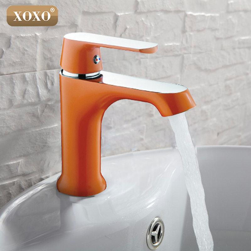 XOXO Innovative Fashion Style Home Multi-color Bath Basin Faucet Cold and Hot Water Taps Green Orange White mixer 20025R