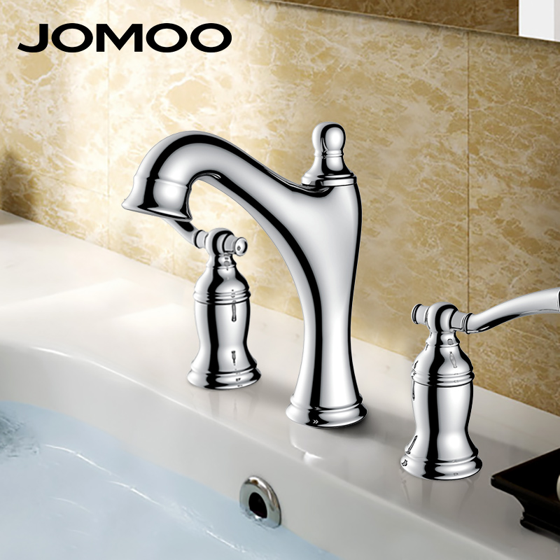 JOMOO Bathroom Basin Faucet Solid Brass Chrome Deck Mounted Basin Mixer three holes double Handles Water Tap bathroom faucet jomoo bathroom basin faucet solid brass chrome deck mounted basin mixer single handle hot and cold water tap bathroom faucet
