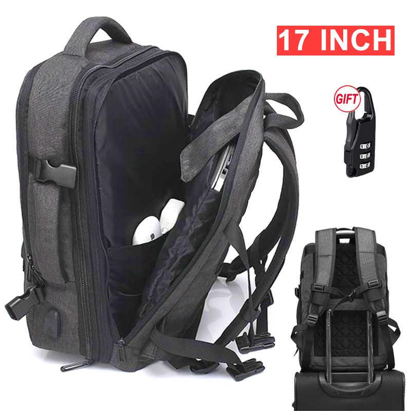 17 Inch Laptop Anti Pencurian Tas Ransel Perjalanan Wanita Pria Pria USB Pengisian 15.6 Notebook Bagpack Luar Ruangan Besar Tas Ransel