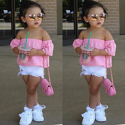 Toddler Infant Baby Kids Girls Children Cotton T shirt Short Sleeve Pink Tee Tops Summer Casual Clothes
