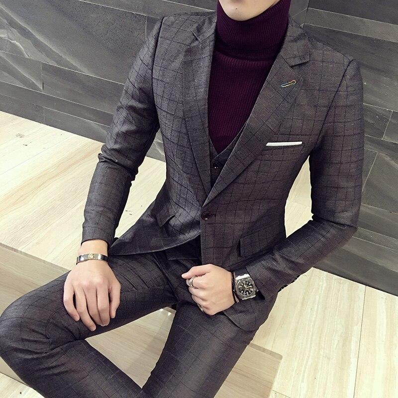 2017 Outono e inverno espessamento dos homens terno terno três pedaço terno do noivo vestido de noiva tendência hairstylist - 2