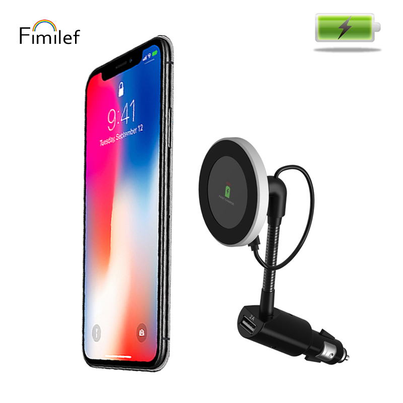 Fimilef New Design Qi Wireless Car Charger Magnetic Mount Holder For iPhone X 8 Samsung Note S8 holder Charging