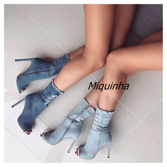 Top Quality Light Blue Jeans Peep Toe Woman Ankle Booties Fashion Fringe Edge Stiletto Heel Sandal Boots Pretty Denim WomanShoes top quality woman shoes fashioned in the concise design and unique pattern fringe decoration stiletto high heels light blue heel