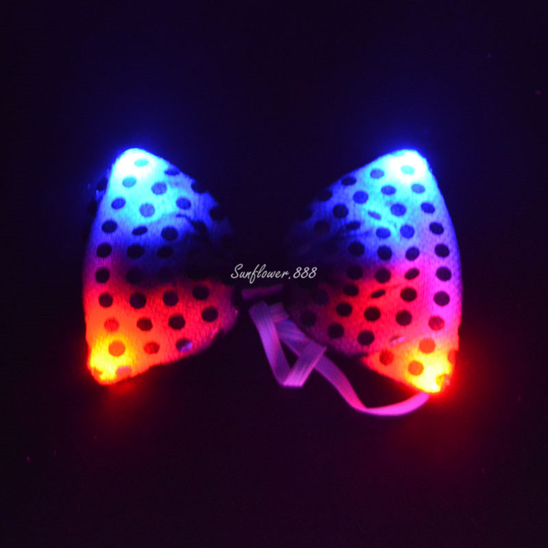 Children Led Flashing Sequin Bow Tie Neckwear Unisex Light Up Bowtie For Boys Girls Fancy Dress Costume Party Decoration Novelty & Special Use