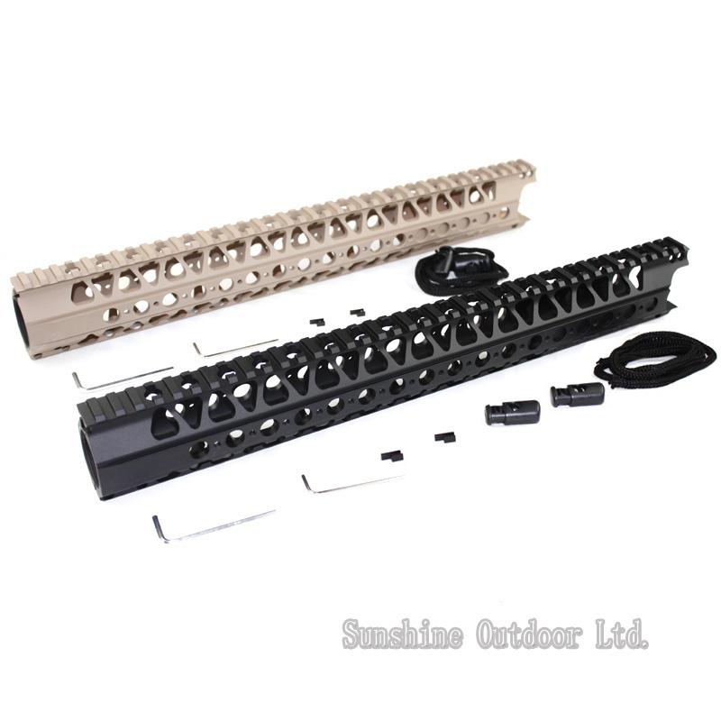 Picatinny Rail system 16.2 inch LVOA-C Aluminum handguard Rail system for AEG airsoft M4/M16/AR-15 BK/DE-Free shipping 12 durable mil spec style matte finish lightweight aluminium handguard picatinny quad hunting shooting rail for aeg m4 m16 ar15