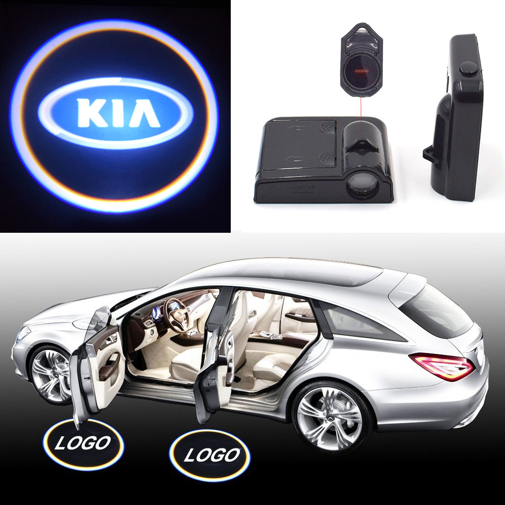 Super Cool KIA Logo Car Door Lights Wireless Laser Projector Welcome Lamp Auto Decorating Bulb Car Door Signal Warning Lights