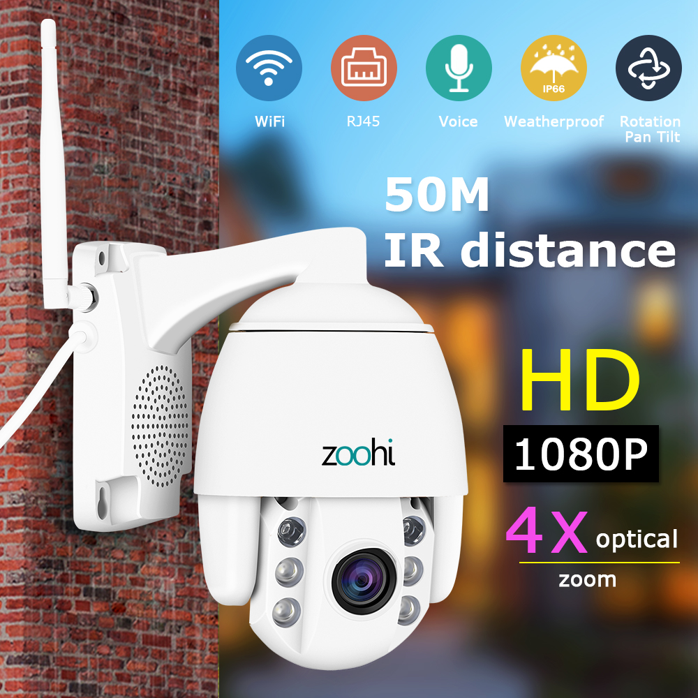 Zoohi Rotatable Dome PTZ Wi-fi ao ar livre Câmera Survellance Câmera Sem Fio Da Câmera de Segurança Ao Ar Livre Câmera IP Áudio Bidirecional IP66