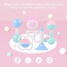 5 шт./компл. Прорезыватель с погремушкой для новорожденных Игрушки Детские Пластиковые Погремушки Прорезыватель игрушка 0-12 месяцев Подарочная музыкальная игрушка для малышей