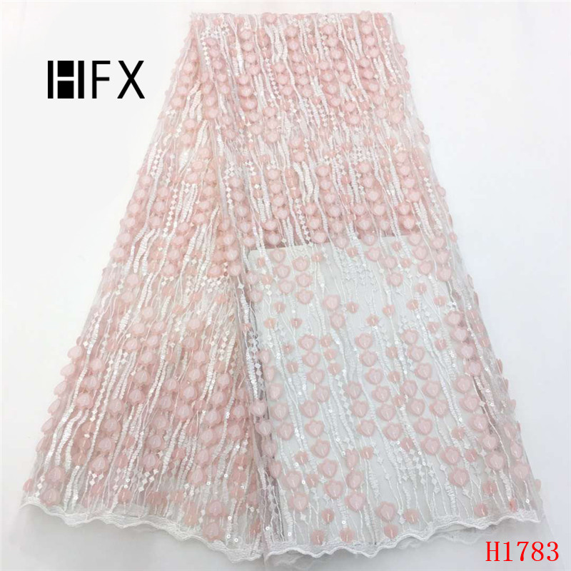 HFX African Lace Fabric 2019 High Quality Sequin Net Lace Bridal Evening Party Nigeria Embroidery Tulle Lace Fabric X1783HFX African Lace Fabric 2019 High Quality Sequin Net Lace Bridal Evening Party Nigeria Embroidery Tulle Lace Fabric X1783