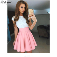 Adogirl Summer American School Style Fashion Women Elegant Half Pleated Mini Skirts High Waist Casual Girls